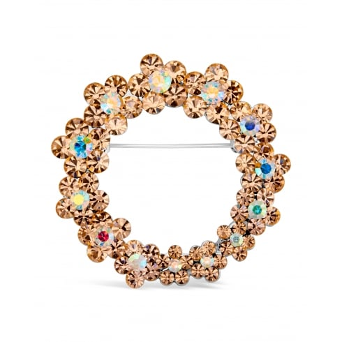 40mm width Beautiful Gold Plated Multi Coloured Brooch.