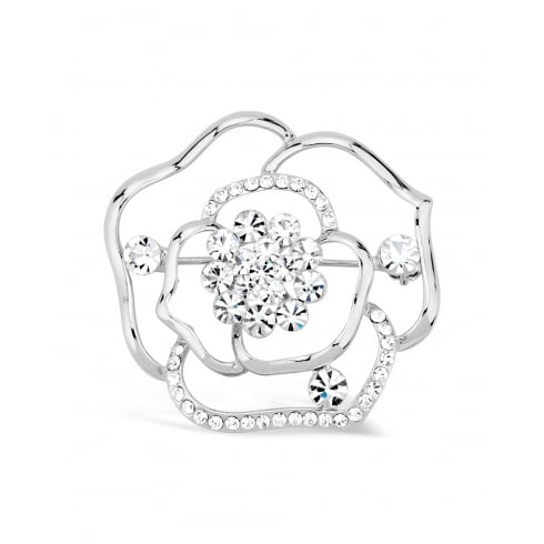 Beautiful Rose Flower Brooch, Set with Round Crystals