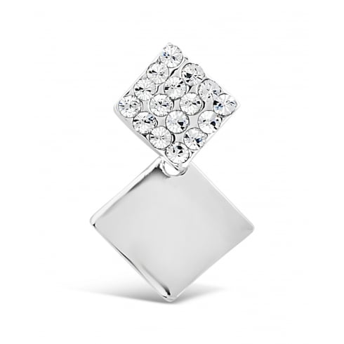 Double Square Stud Earring, Rhodium Plated and Pave Set Crystal Stones