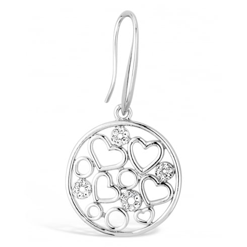 Unique Silver Filergree Heart and Circle Drop Earring, with Crystal Stones.