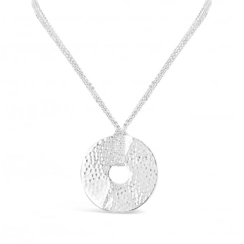 **Solid Silver Plated Beaten Disc Necklace on a Triple Strand Chain.