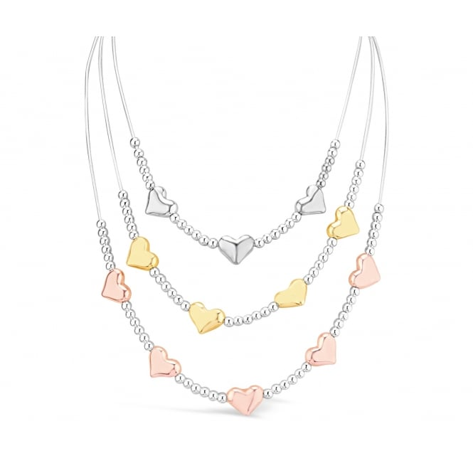 Tri-Colour, Tri Tier Silver, Gold & Rose Gold Plated Heart Necklace. 27cm Chain.
