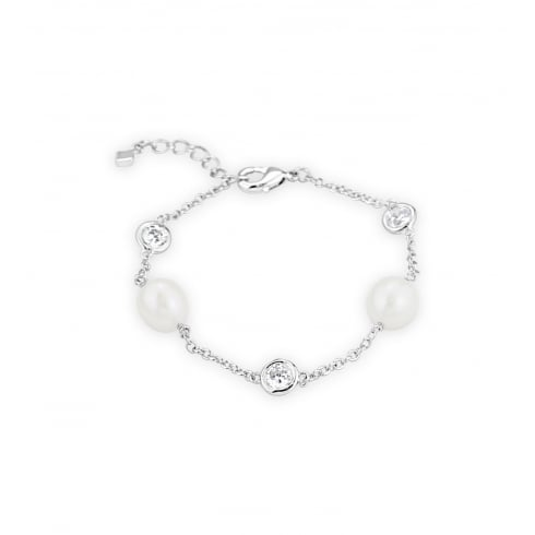 Beautiful Rice Pearl Bracelet Set with 5mm Cubic Zirconia stones 8mm rice pearls on bracelet chain.
