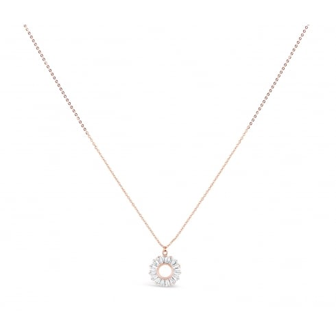 *17'' Long Beautiful Rose Gold Plated Pendant With Baguette Set Cubic Zirconia stones.