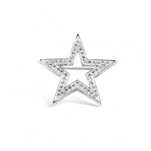 38mm width Gorgeous Rhodium Plated Crystal Star Brooch.