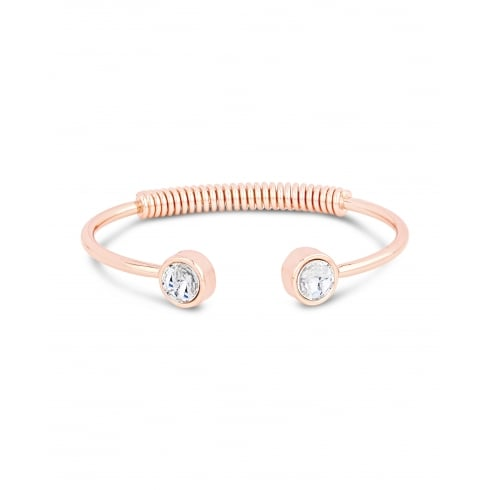 **Trendy Rose Gold Plated Cuff Spring Back Bracelet with Crystal Rub Over Set Stone.