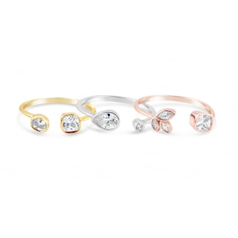 Triple Colour Stacker Adjustable Rings, Rose, Gold and Silver Plated, with Crystal and Cubic Zirconia.