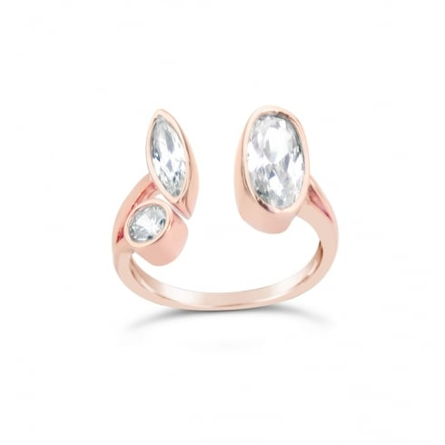 Rose Gold Plated Adjustable Cubic Zirconia and Crystal Ring.