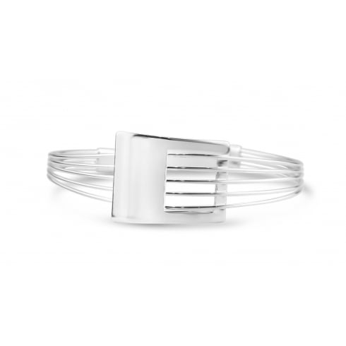 Unique Designed, Rhodium Plated Cuff Bracelet With Funky Center Feature.