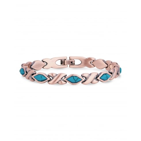 Copper Kiss Magnetic Bracelet with Blue Turquoise Crystal Stones.