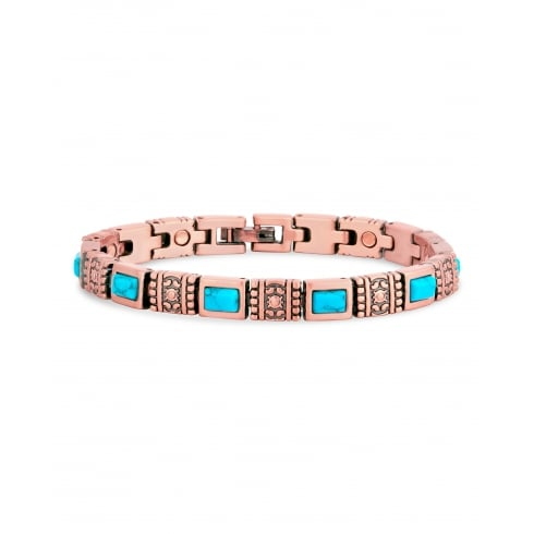 Copper Link Magnetic Therapy Bracelet with Blue Turquoise Crystal Stones.