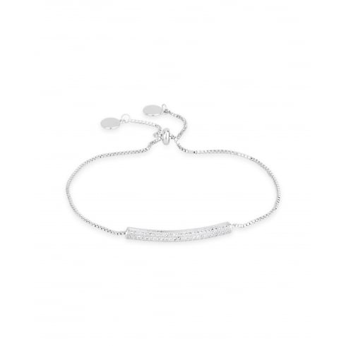 **Delicate Rhodium Plated, Crystal Bar Bracelet.