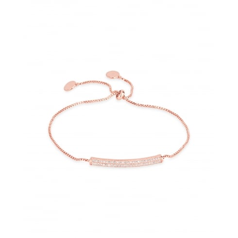 *Delicate Rose Gold Plated Cubic Zirconia Crystal Bar Bracelet.