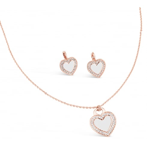 Rose Gold Plated Heart Necklace & Earring Set with Crystal Stones