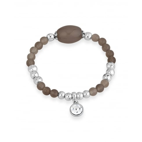 Fashionable Silver Plated Bead Elasticated Bracelet With Round Silver Crystal Charm.