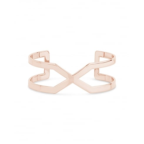 Trendy Rose Gold Plated solid Adjustable Bangle, Open Side Cross Over Design.