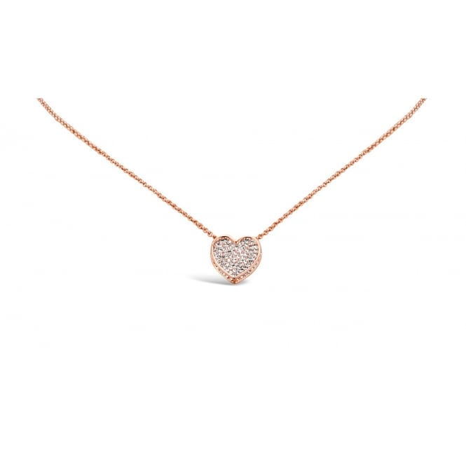 Delicate Rose Gold Plated Rope Chain Pendant, with Crystal Encrusted Heart.