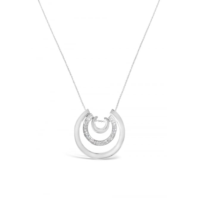 Half Moon Pendant. Rhodium Plated Necklace with Crystal Glass Stones. Pouch