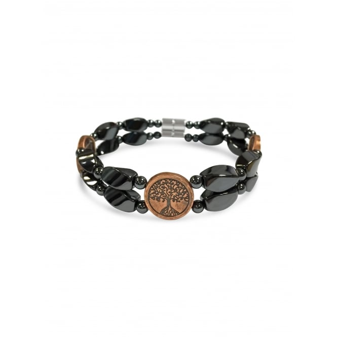 Copper Tone Hematite Bracelet with Elasticated Band with Tree Pendant.