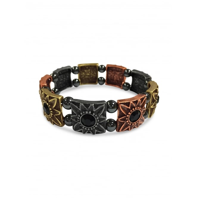 Copper Toned Flower Detailed Hematite Bracelet.