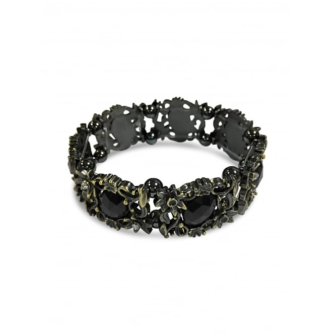Black Hematite Magnetic Bracelet with Elastic Banding.