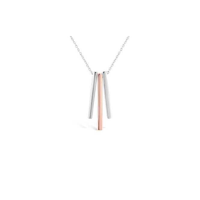 Rhodium Plated Pendant With Silver and Rose Coloured Bar Pendants.