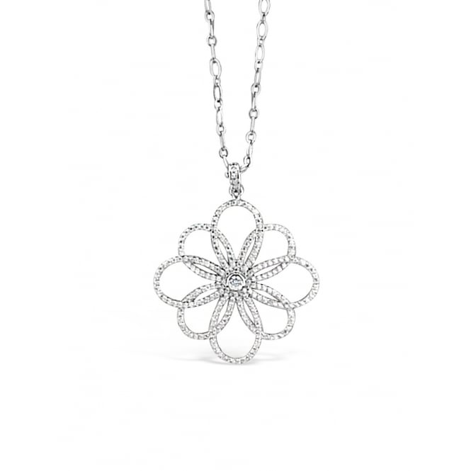 "***32""Necklace Rhodium Plated Flower Crystal Pendant. Pouch."