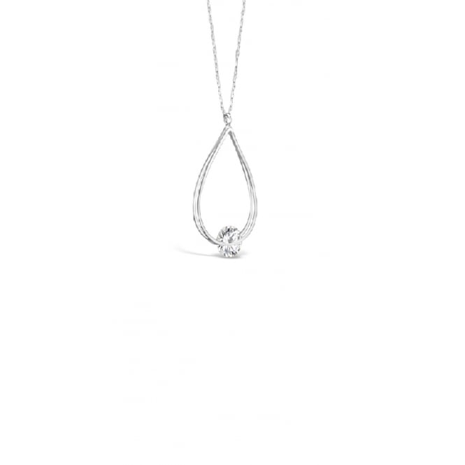 "**40"" Long Delicate Rhodium Plated Long Necklace With Single Cubic Zirconia Stone."