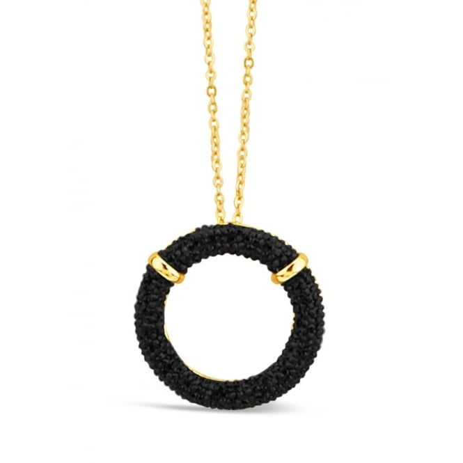 "***37"" Long Gold Plated Necklace with Circular Pave Set Black Stone Pendant."