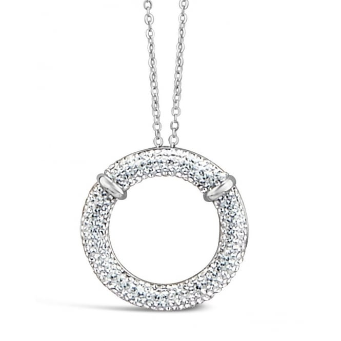 "**37"" Long Necklace with Stunning Circular Pave Set Crystal Stone Pendant."