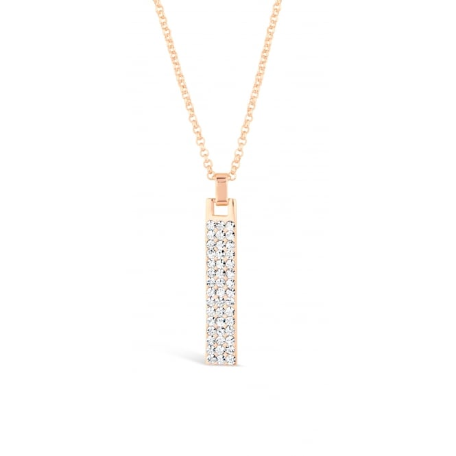 Rose Gold Plated Necklace with Crystal Stone Pendant. Matching Earrings available. 40mm Drop.
