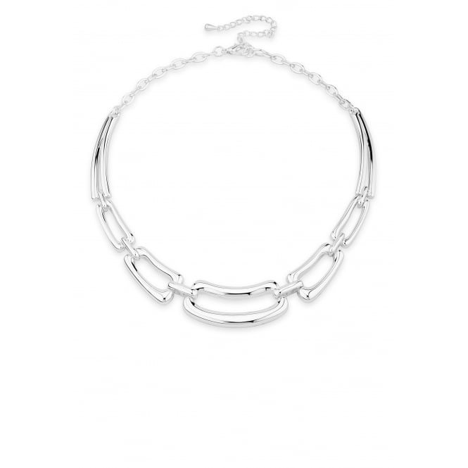 Stylish Silver Plated Link Statement Necklace.