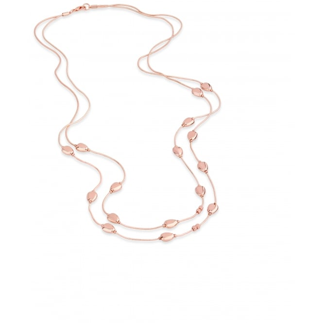 "36"" Chain Rose Gold Plated Necklace with Droplet Beads. Pouch."