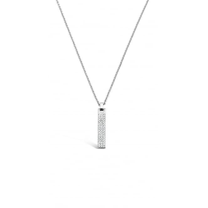 Rhodium Plated Long Necklace with Crystal Stones. Matching Earrings available.