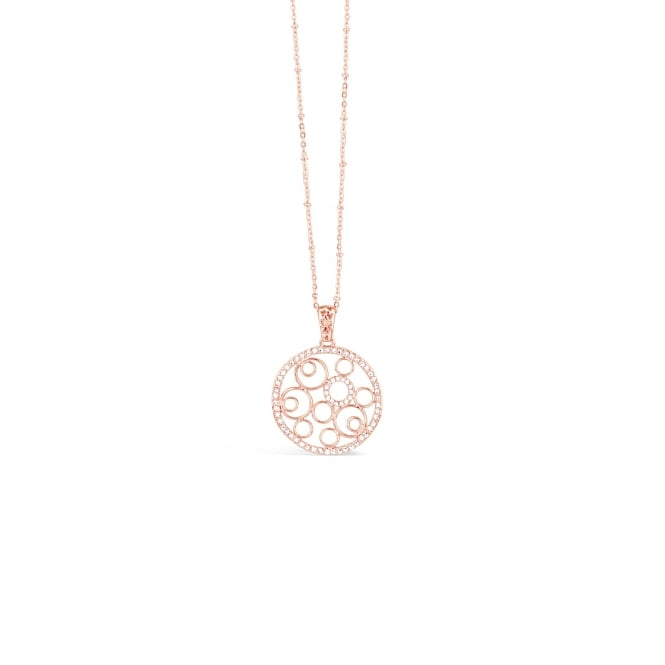 "37"" Long Rose Gold Plated Fillergree Necklace Set with Bright Crystal. Pouch."