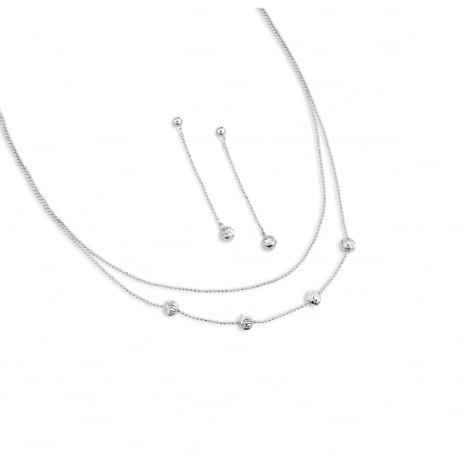 Lovely Rhodium Plated Ball Design Necklace & Earring Set.