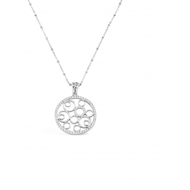 Rhodium Plated Necklace with Filligree Pendant. 35mm Drop.