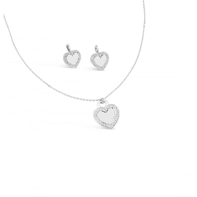 SALE PRICE FOR A PACK OF 2 Silver Plated Heart Necklace & Earring Set with Crystal Stones