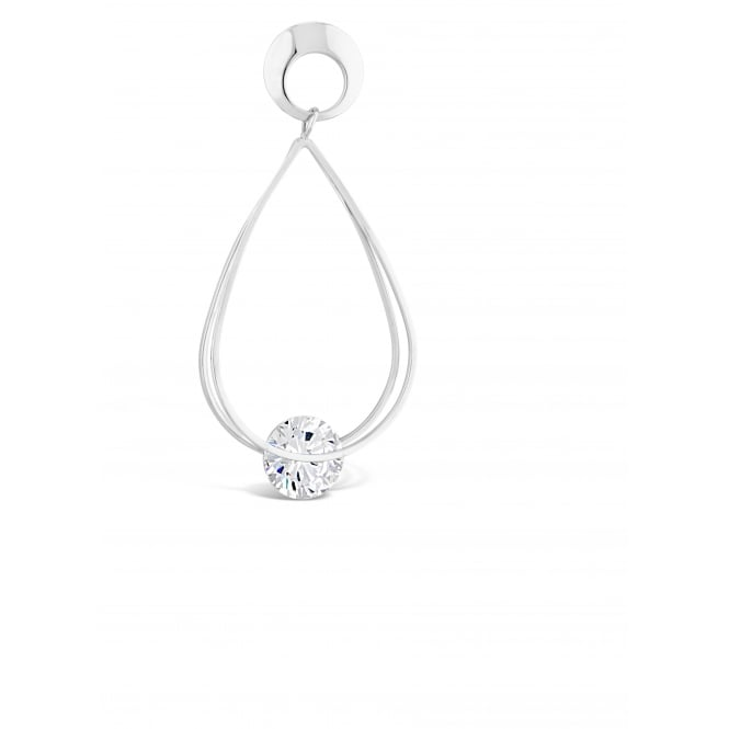 Rhodium Plated Pear Shaped Drop Earrings with Tension Set Glass Stone.