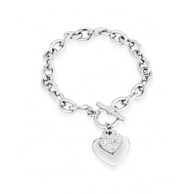 On Trend Double Heart Crystal and Imitation Rhodium Link Bracelet.