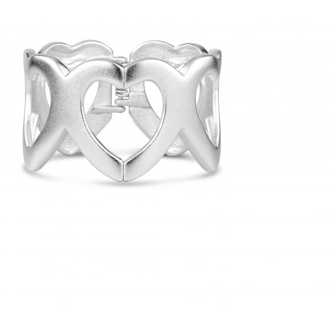 Beautiful Matt Silver Plated Infinity Heart Bangle with Side Hinge Opening.