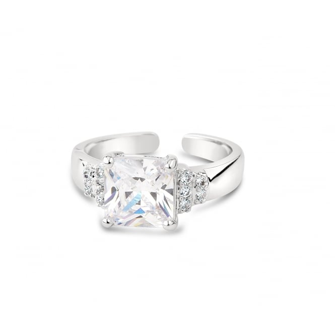 Princess Cut Cubic Zirconia Adjustable Ring
