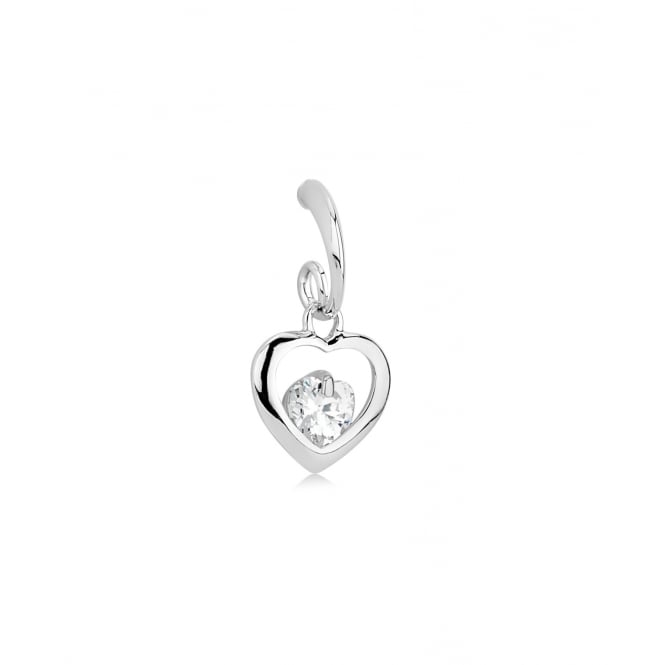 SALE PACK OF TWO. Love Heart shaped Rhodium Crystal Earring.