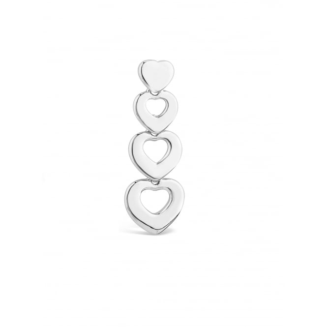 SALE PACK OF FOUR. 35mm Long Silver Plated Quadruple Heart Drop Earrings.