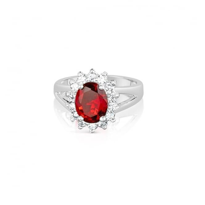 Ruby Red Flower Style Ring