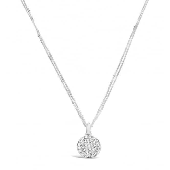 Imitation Rhodium Pendant Necklace with Crystal Stones.