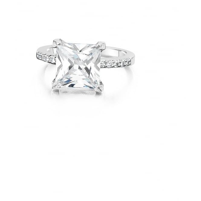 Rhodium Plated Ring with Cubic zirconia Stone.