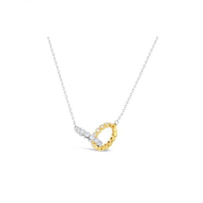 Delicate Rhodium Plated with Crystal Set Ring Pendant In Rhodium and Gold Plating. 20mm Drop.