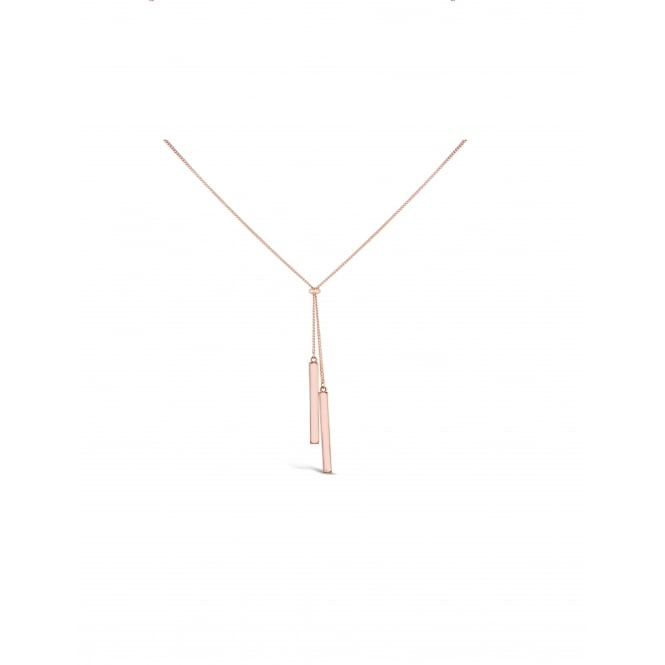 Simple 35'' Long Rose Gold Plated Necklace with Two Solid Bar Pendants. 45mm Drop.