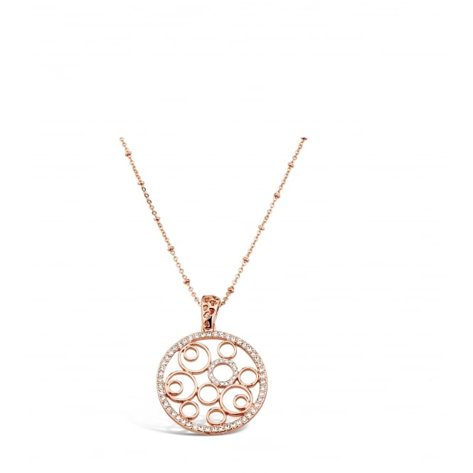 Rose Gold Plated Necklace with Filligree Pendant.